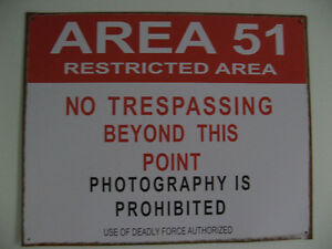 Area 51 - Restricted Area Tin Sign