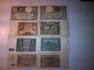 Banknotes from Poland from 1918 to 1945 year.  500 zl, 100 zl, 5