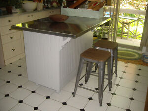 URBAN RE-PURPOSED COLLECTION:ANTIQUE KITCHEN ISLAND,STAINLESS ST