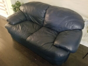 Navy blue leather sofa and loveseat for sale