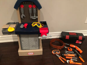 Little Tikes Workbench and  Home Depot Tools and Tool Box