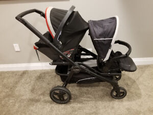 Peg Perego Double Stroller with Car Seat
