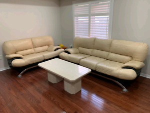 5 seat leather couch set