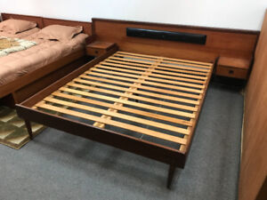 Mid-century modern teak Queen size bed Dresser & vanity