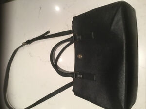 Tory Burch Black Saffiano leather Robinson Double Zip Tote Bag