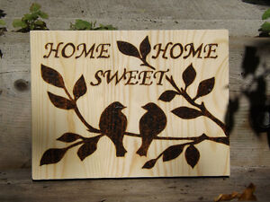 HANDMADE WOODBURNING 'HOME SWEET HOME' SIGN WITH LOVE BIRDS Peterborough Peterborough Area image 2