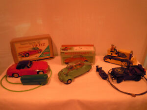 Vintage Toys - Cars, Army Jeep, Bulldozer - Some In Boxes