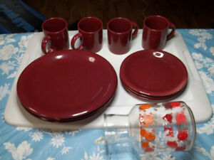 9 Piece Dinnerware Set & Kitchen Items.
