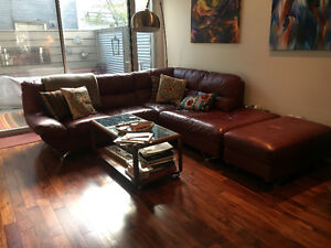Red leather corner sectional sofa & Ottoman for sale
