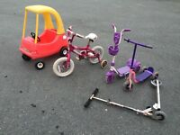Girls bike and little tikes car and scooters. Free