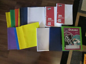 Duo-tangs, 3 binders and paper..NEW..moving