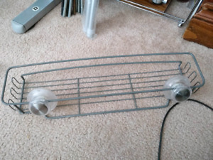 Bathroom wire shelf on suction cups.
