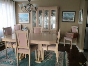 BLEACHED OAK DINING SET WITH HUTCH