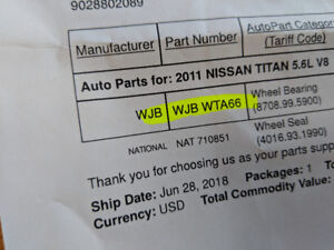 Rear wheel bearing and seals for 2003-2015 Nissan Titan