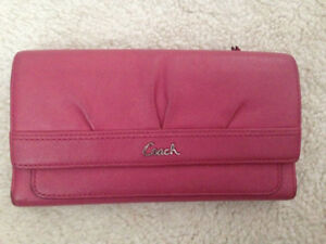 Authentic coach leather pink long wallet purse