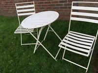 Cream metal garden bistro set