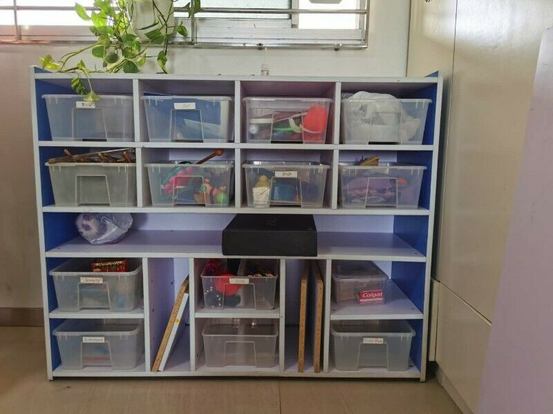 Toy shelves with 14 boxes