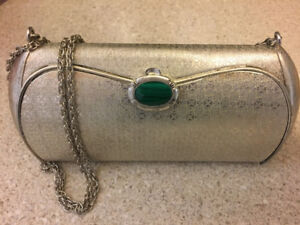 VINTAGE Silver Metal Clutch with Mirror & Malachite clasp