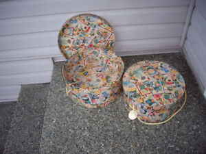 2 HAT BOXES WITH ROPE HANDLES, VARIOUS PRICES
