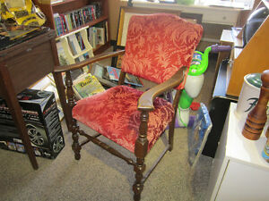 Antique Hardwood Chair With Cushion Fabric