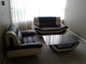 Leather Single Couch/ Love Seat and Living Room Table Set