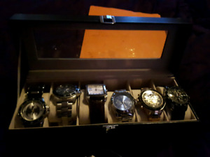 6 men's watches with case