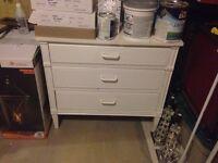 White three drawer dresser