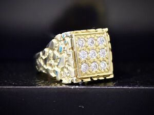 Men's 10K Yellow gold Nugget 9 stone ring size 11.5