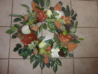 Beautiful large wreath with flwoers and leaves