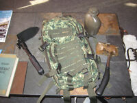 DND backpack,shovel,canteen,camping stoveNEW,ratchet,fishing rod