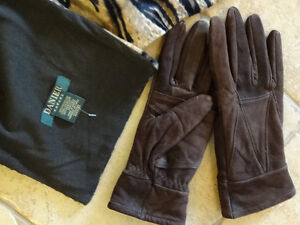 Lady's  brown suede lined gloves , matching Danier Scarf,lined