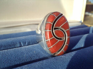 Heavy Silver & Red Coral Ring