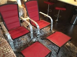 Brand new red chairs with foot support  !! Asking $125.. Edmonton Edmonton Area image 1