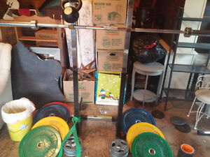 Olympic weightlifting - bumper plates, barbell, stands, KB