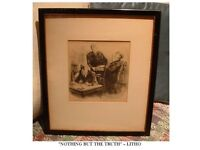 """""""Nothing but the Truth""""  Courtroom LITHO PRINT - 1940's-50's"""