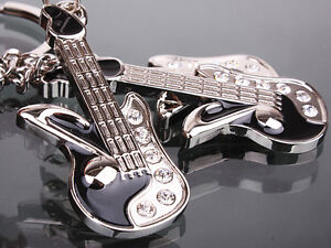 New Fashion Lover Swarovski Crystal Guitar Key Ring Chain Cute Keychain Gift