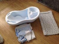 Baby bath & towels & change mat
