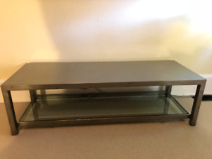 Custom-made brushed stainless steel side/coffee table for sale.