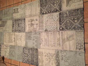 Patchwork rug - blues and greys