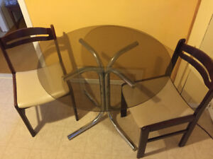 Glass Kitchen Table with 2 Chairs