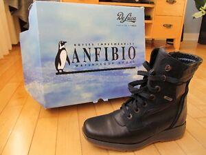 Bottes pour dames Anfibio en cuir-noir imperméables