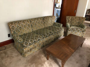 Retro Plush Matching  Couch + Chair; Coffee Table + End Tables