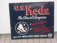 Rare vintage 2 sided U.S. Keds The Shoe of Champions tin sign !