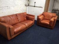 Quality leather sofa + chair