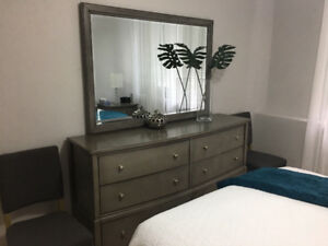 Dresser, mirror and night tables