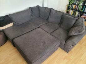 Collins & Hayes Grey Corner Sofa with foot stool (detachable)