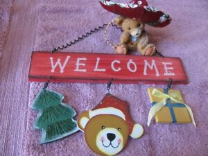 WELCOME Sign and a Bear Figure, Home Decoration Items