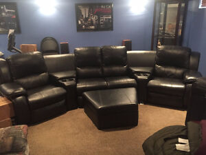 ** MOVING SALE ** Black leather sectional Cinema reclining sofa