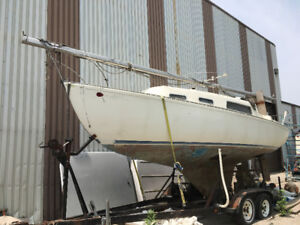 Grampion 26 Foot Sailboat with long shaft engine and trailer