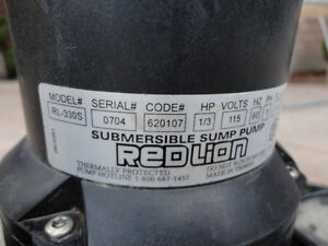 Red Lion 1/3 HP Submersible Sump Pump - Works Perfectly Kitchener / Waterloo Kitchener Area image 3